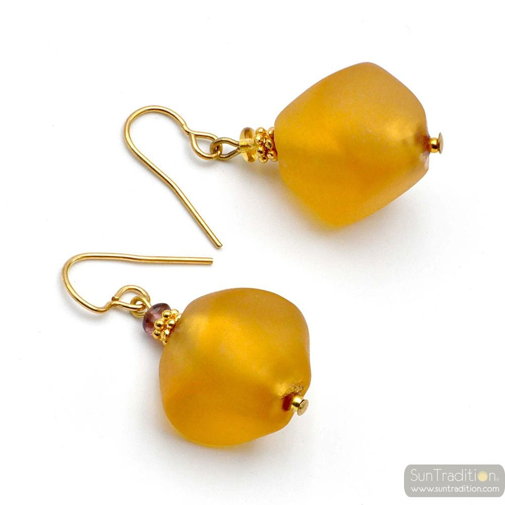 SCOGLIO SATIN GOLD - GOLD MURANO GLASS EARRINGS GENUINE VENICE GLASS