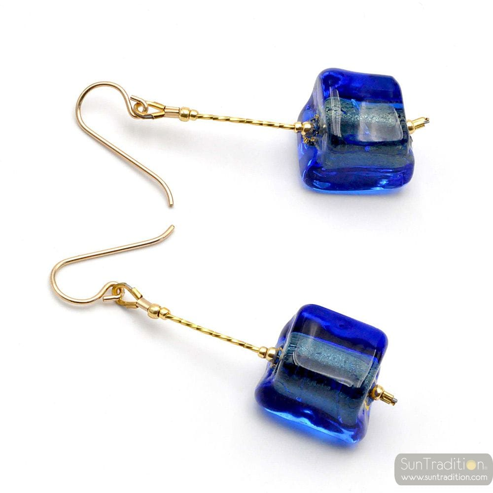 CUBO SCIOGLIENDO BLUE - BLUE MURANO GLASS DROP EARRINGS GLASS OF VENICE