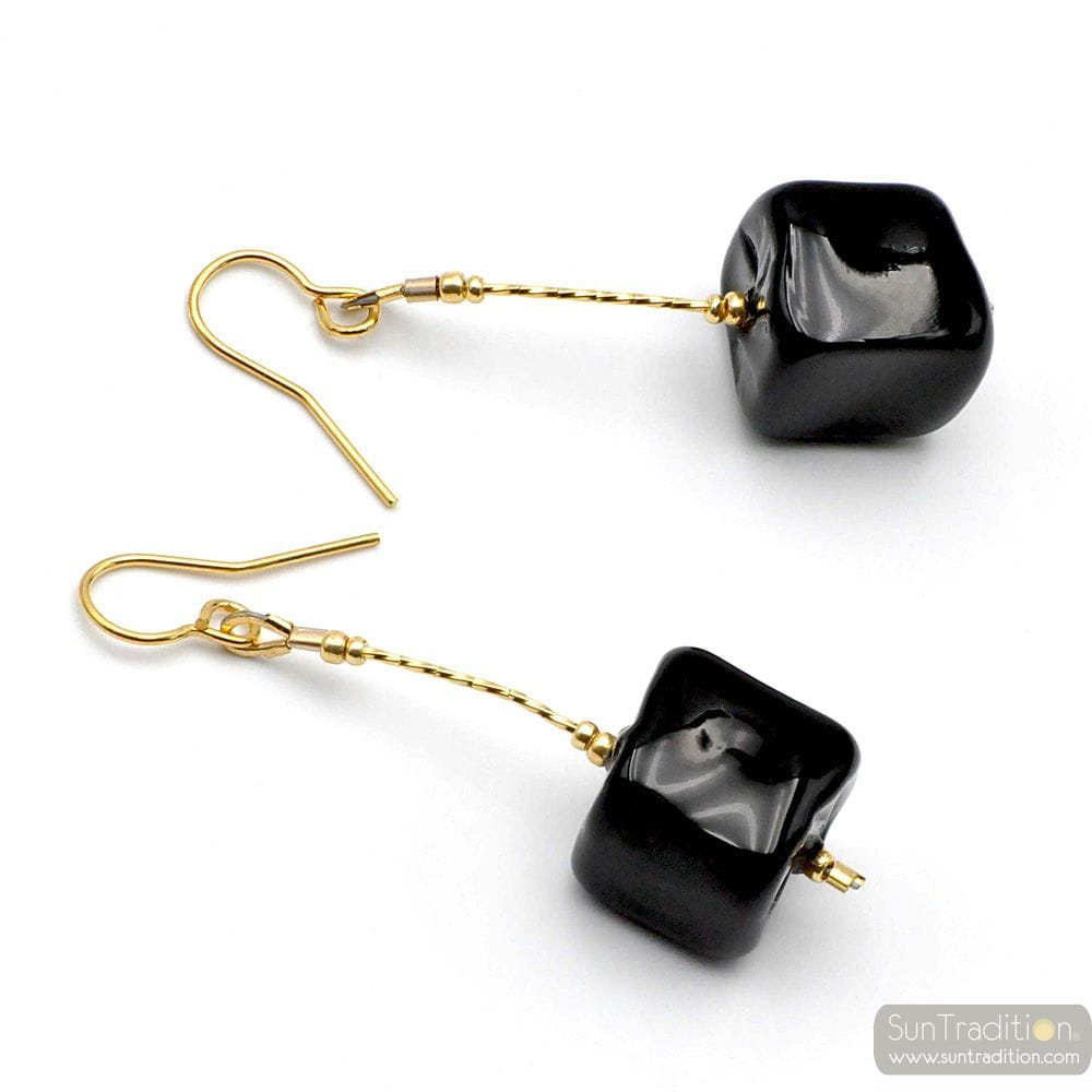 CUBO SCIOGLIENDO BLACK - BLACK MURANO GLASS DROP EARRINGS MURANO OF VENICE