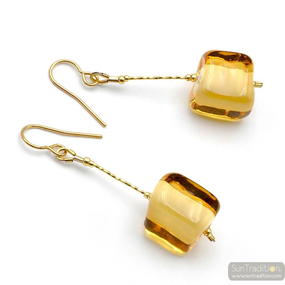 CUBO SCIOGLIENDO GOLD - GOLD MURANO GLASS DROP EARRINGS MURANO OF VENICE