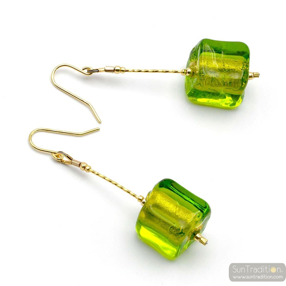 CUBO SCIOGLIENDO GREEN - GREEN MURANO GLASS DROP EARRINGS MURANO OF VENICE