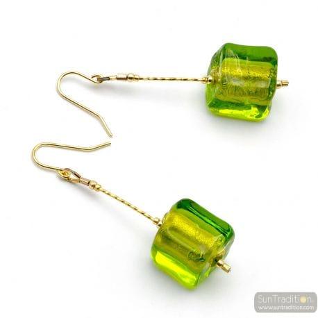GREEN MURANO GLASS DROP EARRINGS OF VENICE