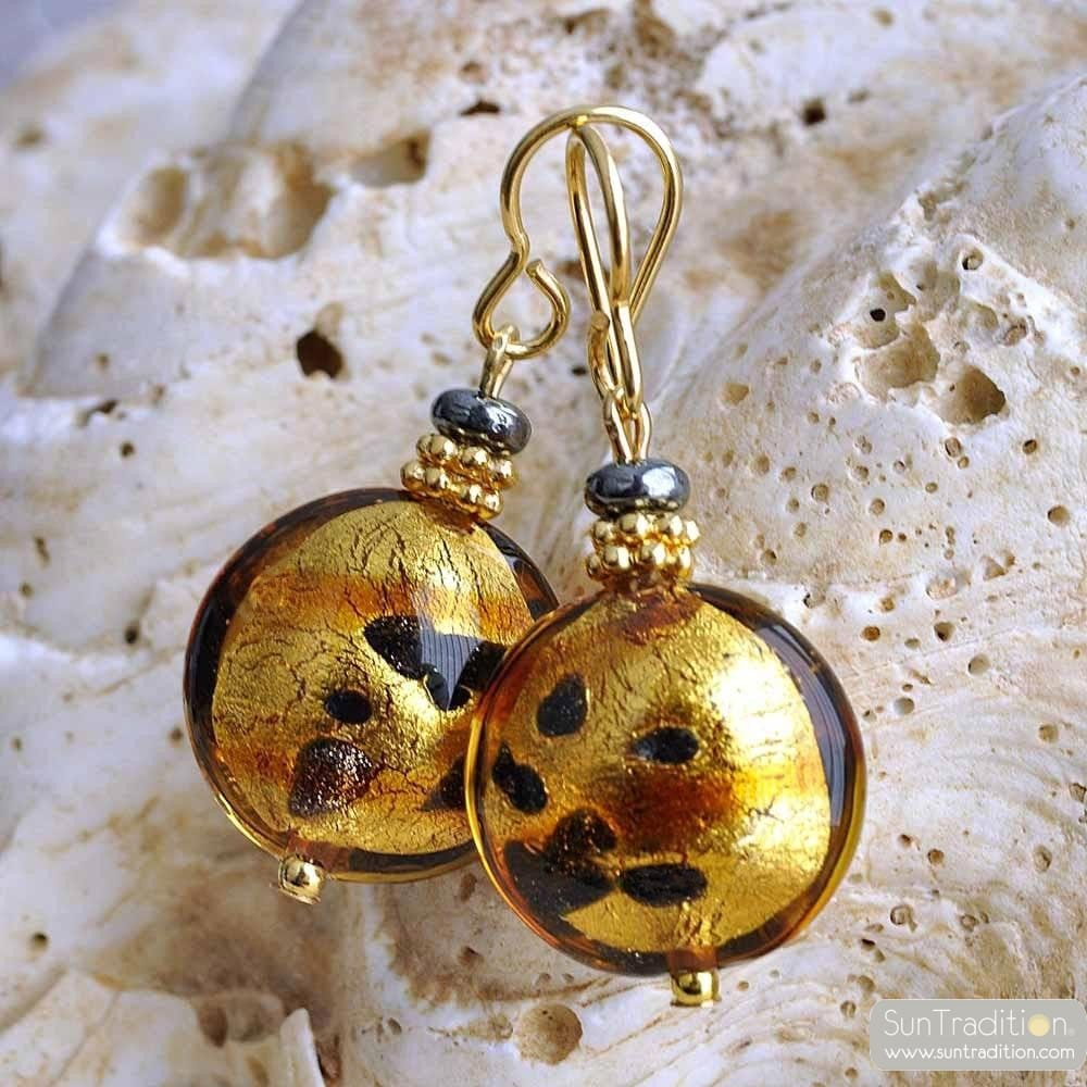 CHARLY SPOTTED GOLD EARRINGS GENUINE MURANO GLASS VENICE