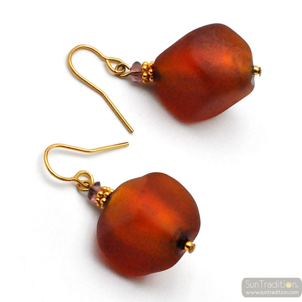 SCOGLIO SATIN AMBER - AMBER MURANO GLASS EARRINGS GENUINE VENITIAN GLASS