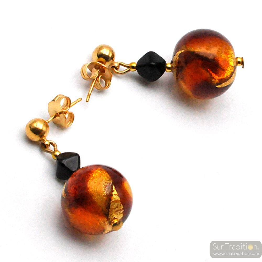 AMBER MURANO GLASS EARRINGS GENUINE VENICE GLASS