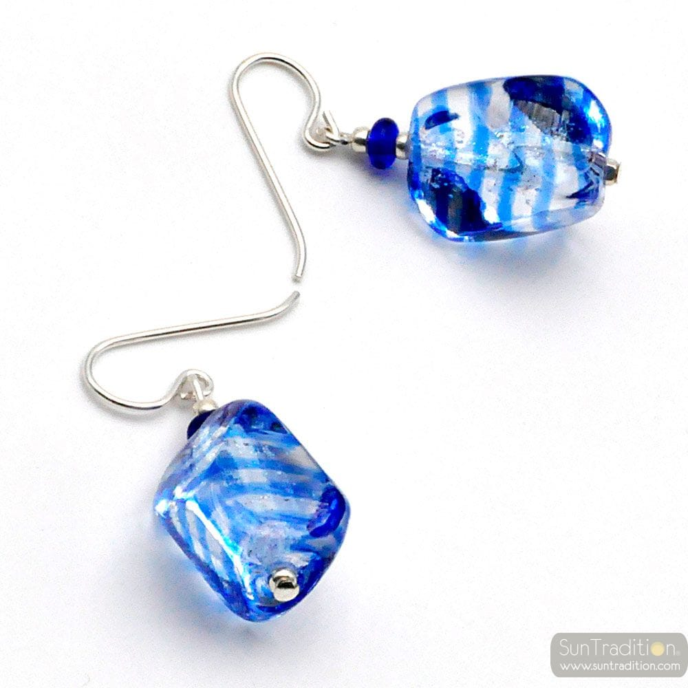SASSO RIGADIN BLUE - BLUE MURANO GLASSD EARRINGS IN TRUE MURANO GLASS OF VENICE