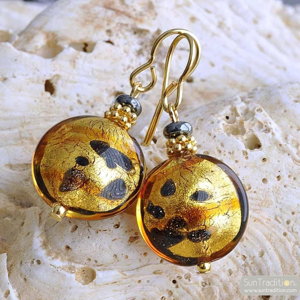GOLD MURANO GLASS EARRINGS SPOTTED