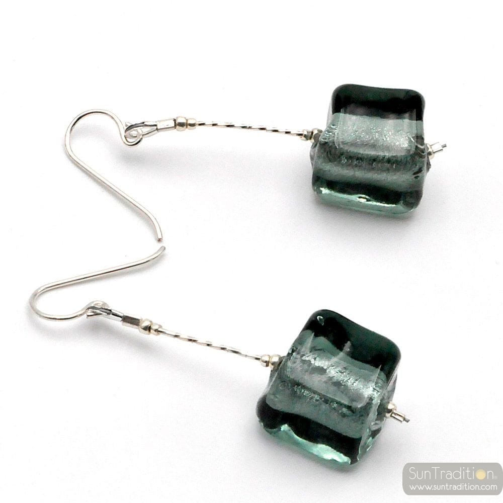 CUBO SCIOGLIENDO GREY - GREY MURANO GLASS DROP EARRINGS OF VENICE