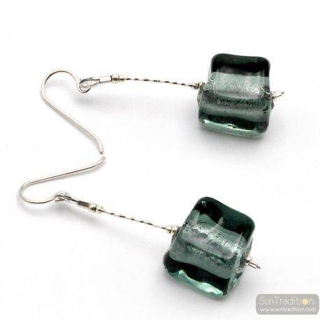 GREY MURANO GLASS DROP EARRINGS OF VENICE