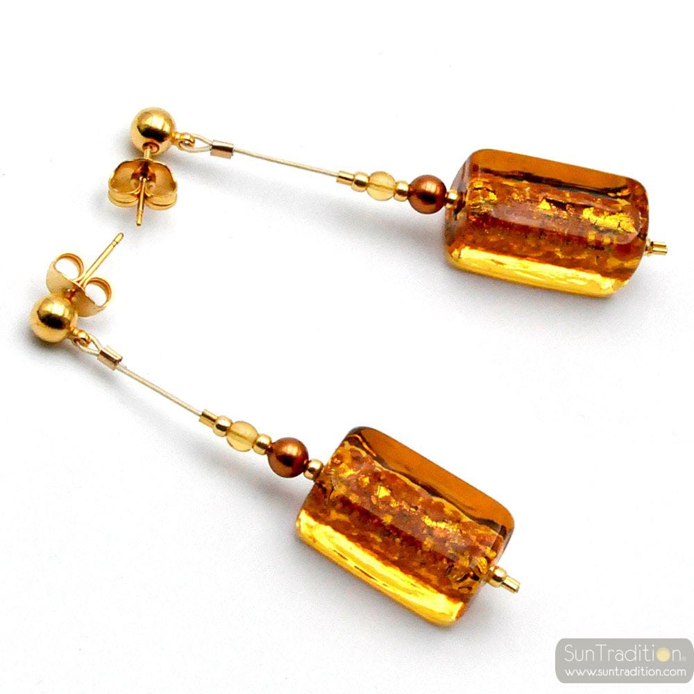 GERBERA GOLD - GOLD DROP EARRINGS GENUINE MURANO GLASS OF VENICE