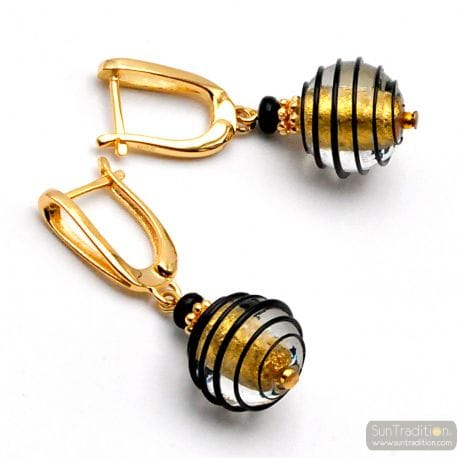 GOLD AND BLACK LEVERBACK MURANO GLASS EARRINGS VENITIAN GLASS