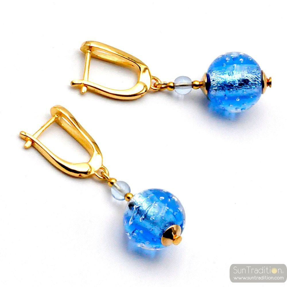 FIZZY BLUE LEVER BACK - BLUE LEVERBACK HOOK MURANO GLASS EARRINGS