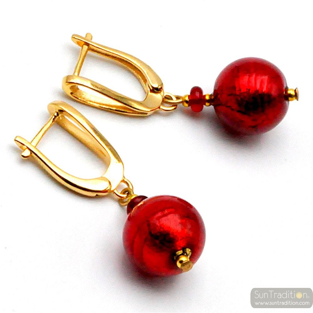 RED BALL - RED LEVER BACK MURANO GLASS EARRINGS HOOK GENUINE VENICE