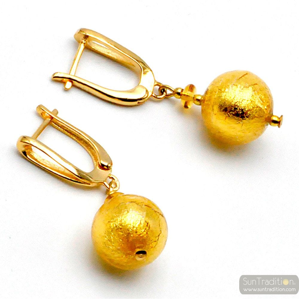 BALL GOLD - LEVER BACK EARRINGS GENUINE VENICE MURANO GLASS