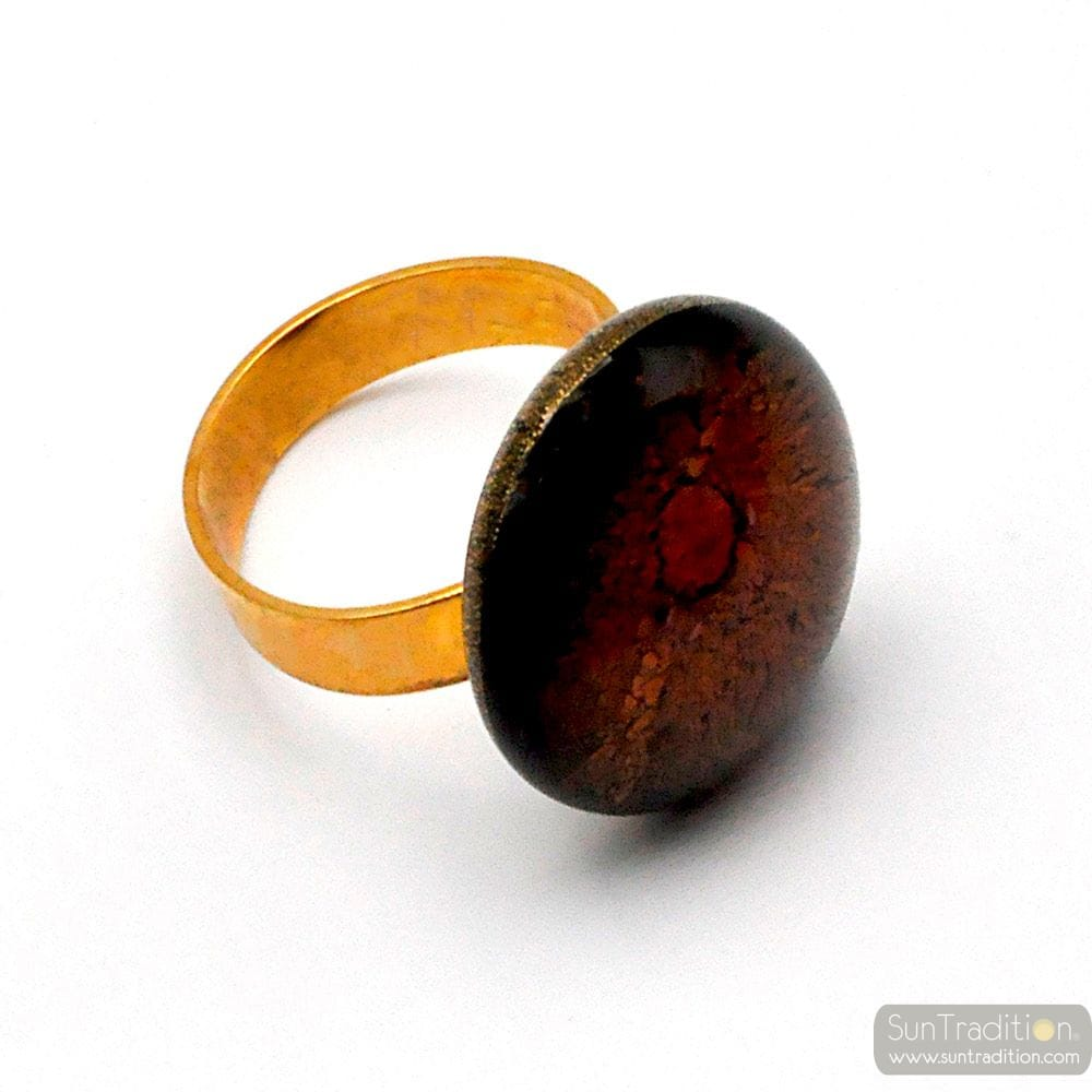 RONDE CRAQUELEE AMETHIST EN DE GOUDEN RING, MURANO GLAS