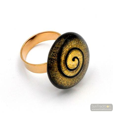 BLACK AND GOLD SPIRAL MURANO GLASS RING