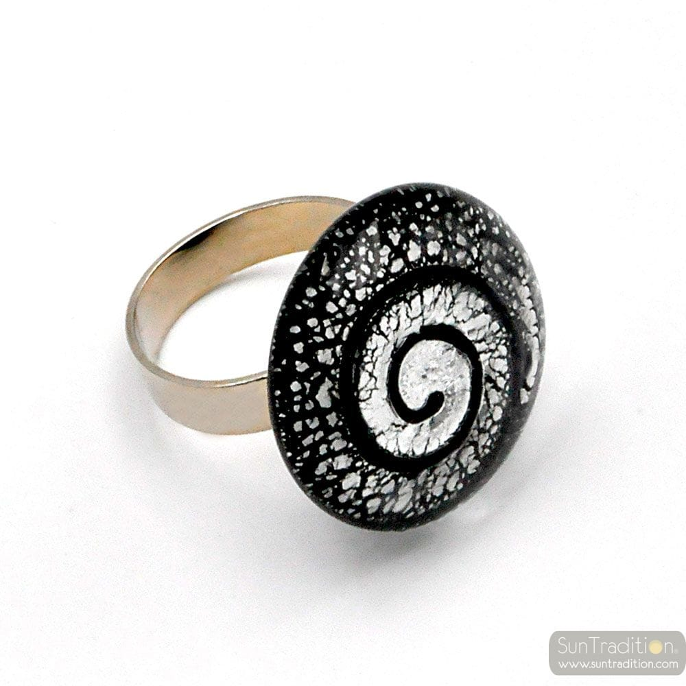 BLACK AND SILVER SPIRAL RING GLASS MURANO