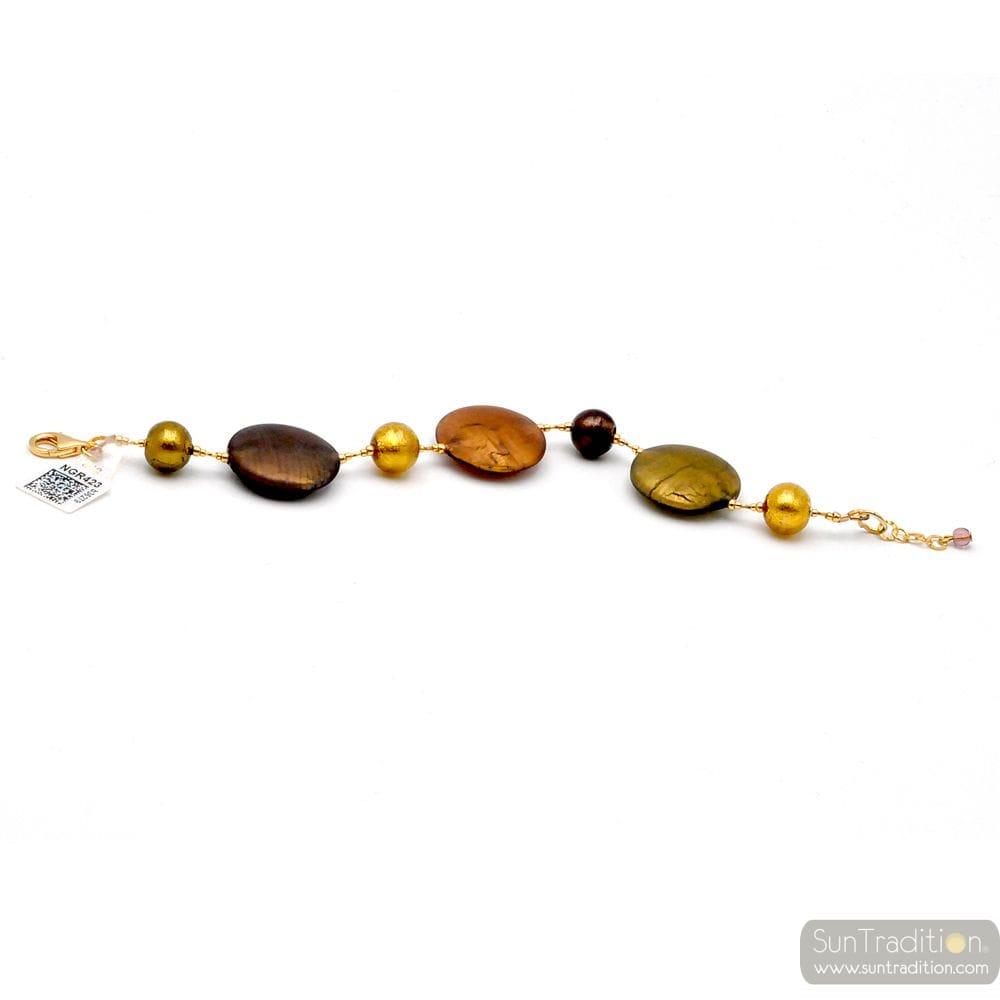 GOLD MURANO GLASS SATIN BRACELET FROM VENICE