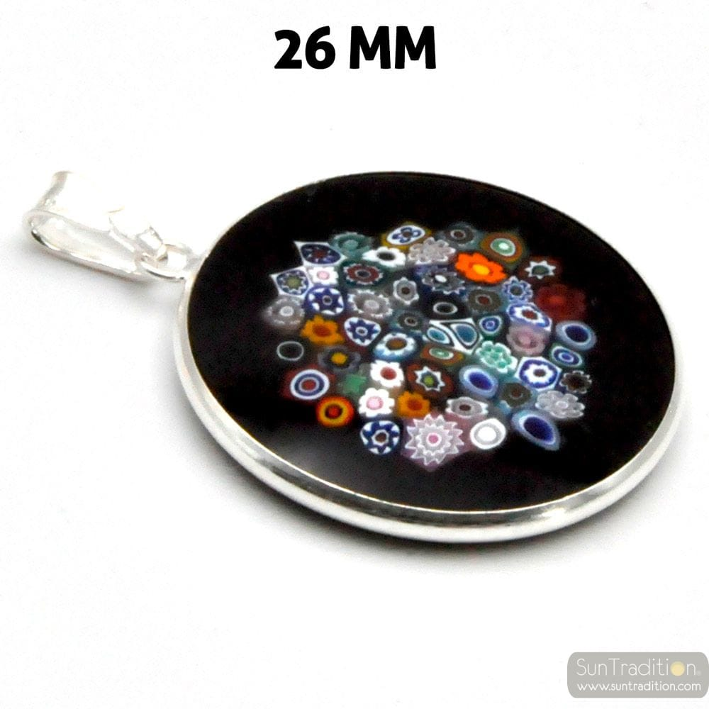 PENDANT MURANO GLASS MILLEFIORI BLACK AND SILVER