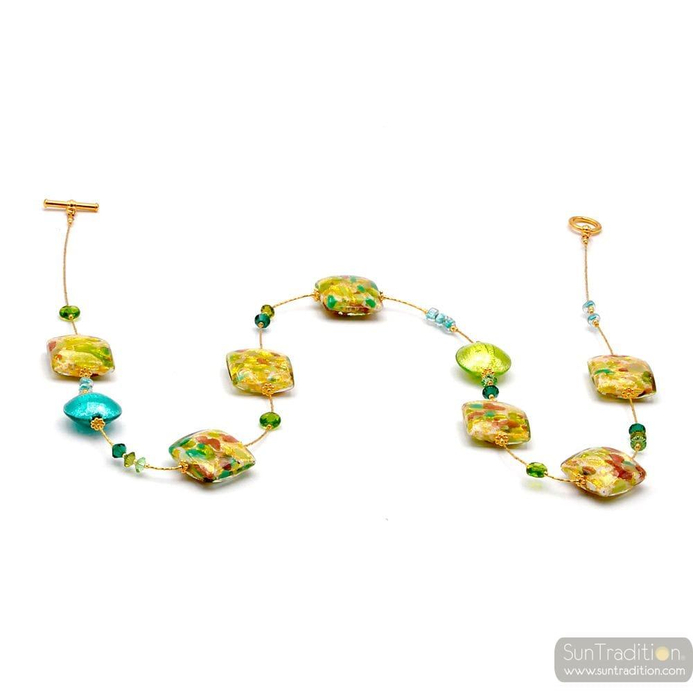 HALSKETTE GRÜN UND GOLD, ECHTEN MURANO-GLAS