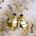 CHARLY GOLD EARRINGS JEWELS GENUINE MURANO GLASS VENECIA