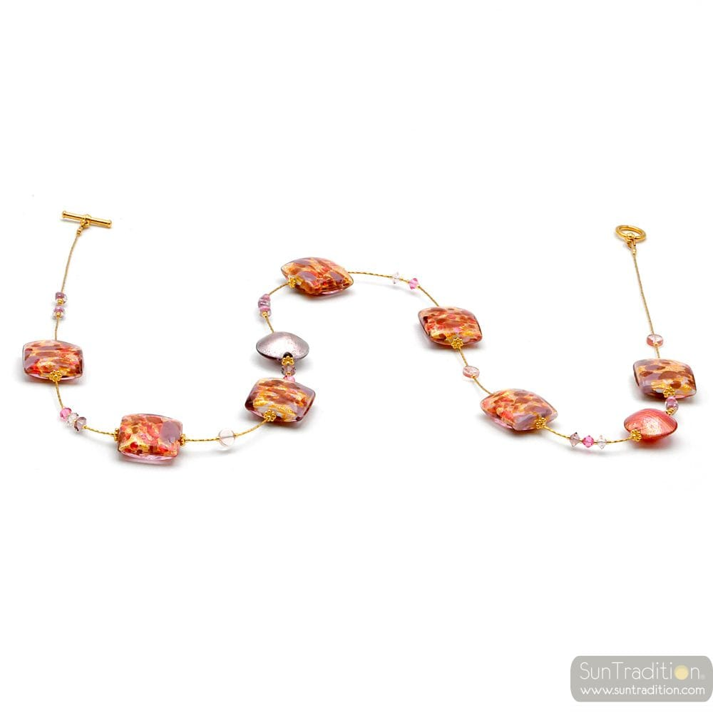 BOTTICELLI ROSE - SAUTOIR COLLIER ROSE ET OR VERITABLE VERRE DE MURANO