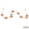 BOTTICELLI ROSE - PINK AND GOLD MURANO GLASS NECKLACE