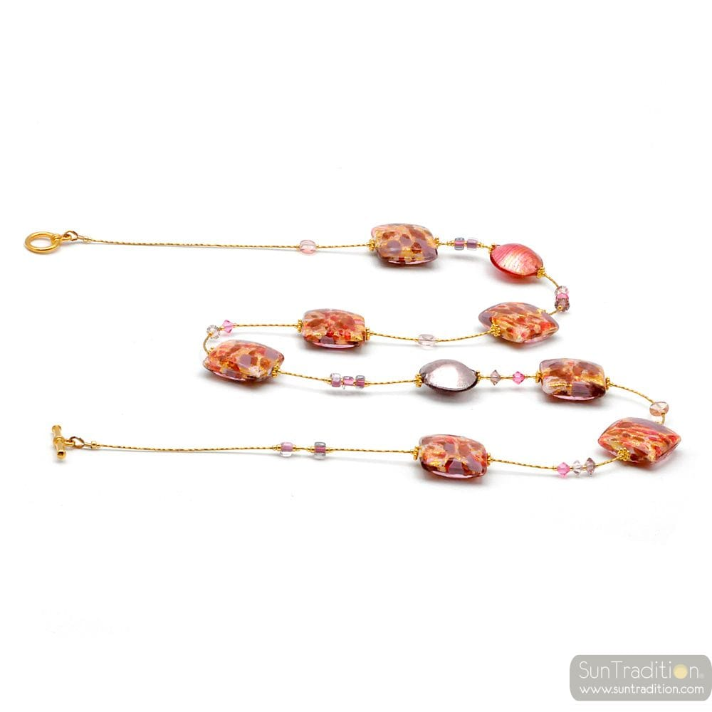 COLLIER ROSE ET OR VERITABLE VERRE DE MURANO