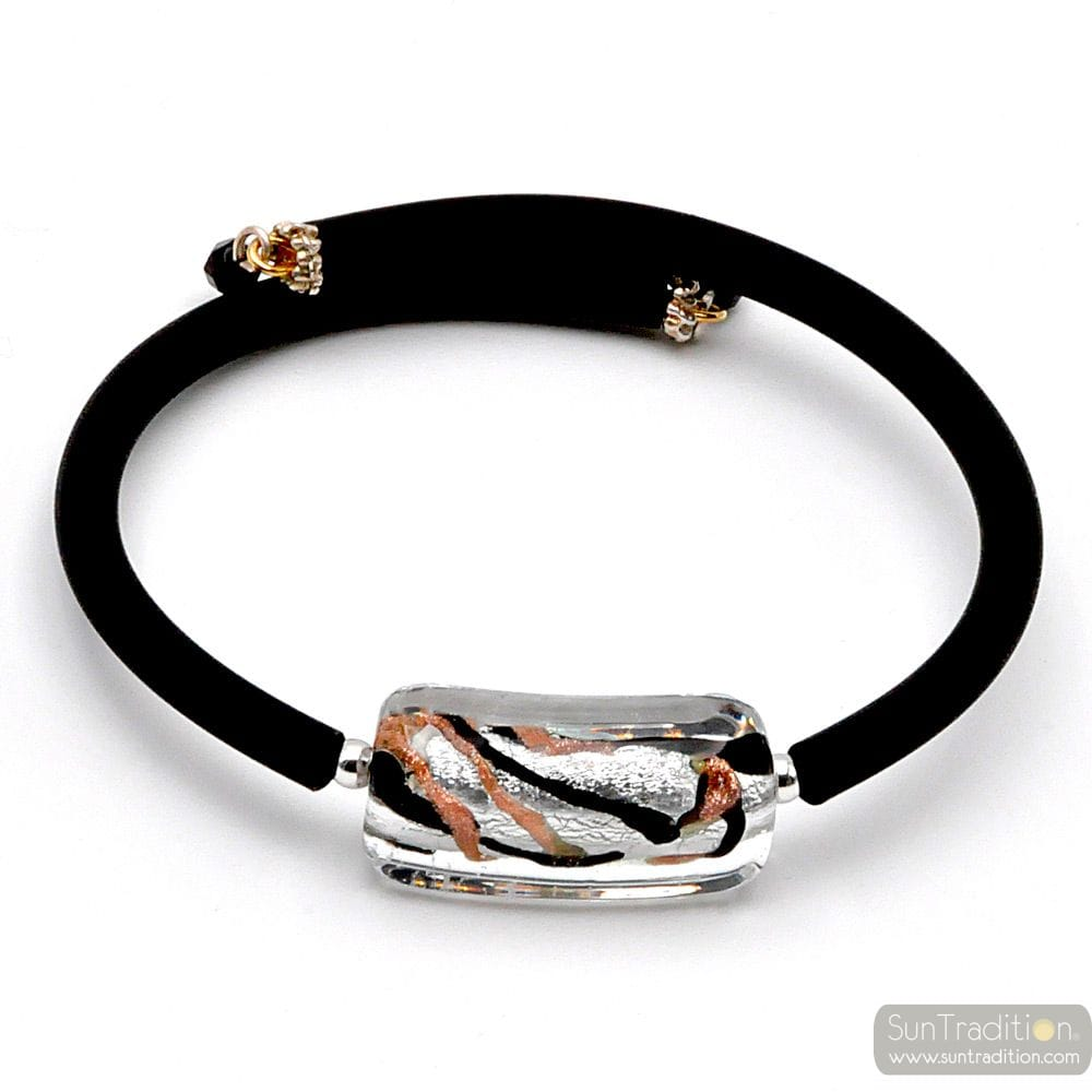 PEARL BRACELET RECTANGULAR MURANO RUBBER FANCY BARETTA