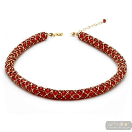 NECKLACE EVIDENCE RENAISSANCE RED GILDED WEAVE