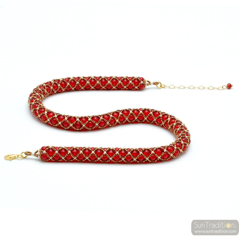 NECKLACE RENAISSANCE RED GLASS GILDED WEAVE
