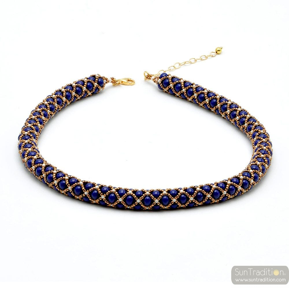RENAISSANCE NECKLACE BEADS GLASS BEADS BLUE LAPIS GILDED WEAVE