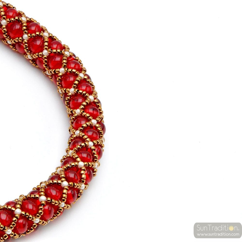 NECKLACE RENAISSANCE RED GLASS BEADS GILDED WEAVE