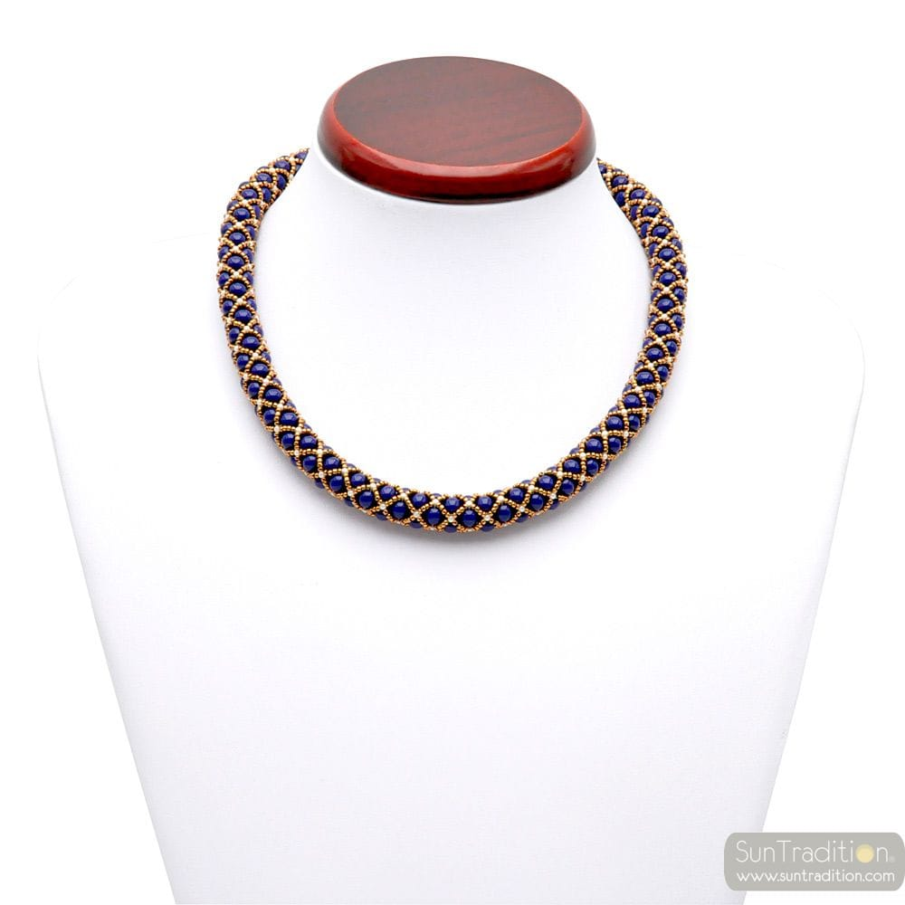 COLLIER BLEU LAPIS OR