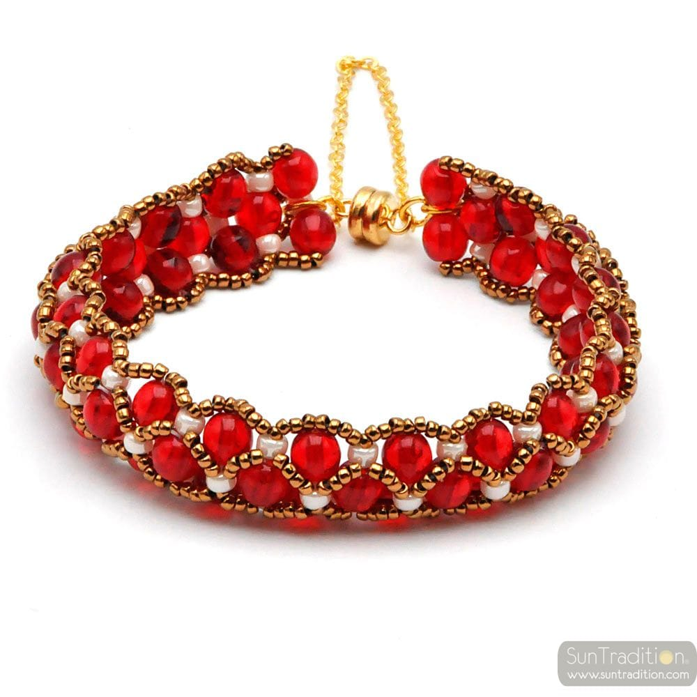 RED PEARL BRACELET GLASS RENAISSANCE