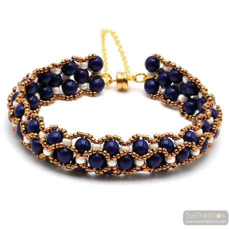 GLASS BEAD BLUE BRACELET RENAISSANCE