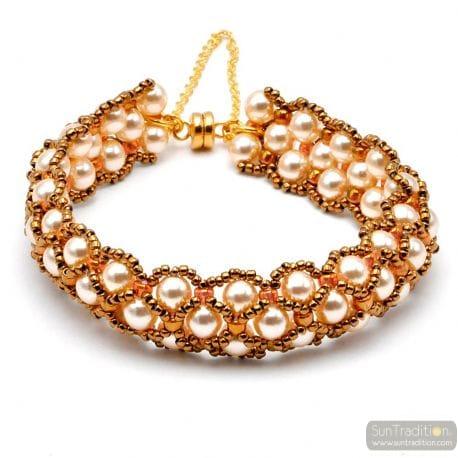 GOLD GLASS PEARL BRACELET RENAISSANCE