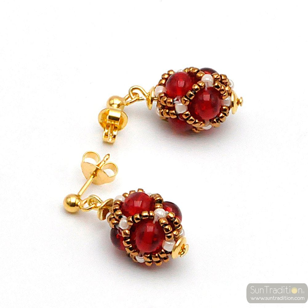 GLASS BEADS RED EARRINGS RENAISSANCE