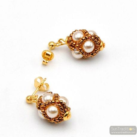 GOLD GLASS BEADS EARRINGS RENAISSANCE