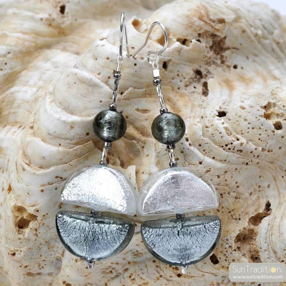 Örhängen i GLAS från MURANO PENDENT SILVER