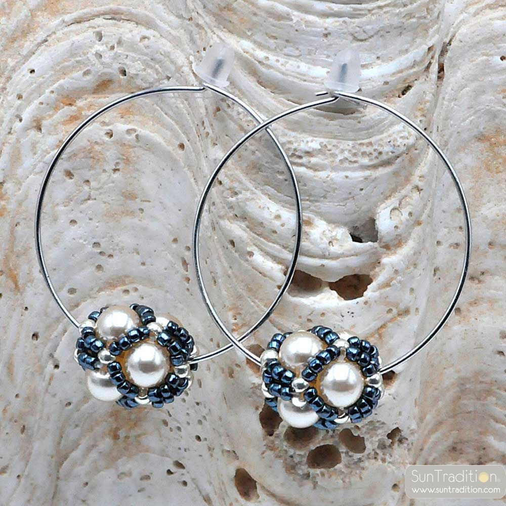 CIRCLE GRAY GLASS BEADS EARRINGS RENAISSANCE