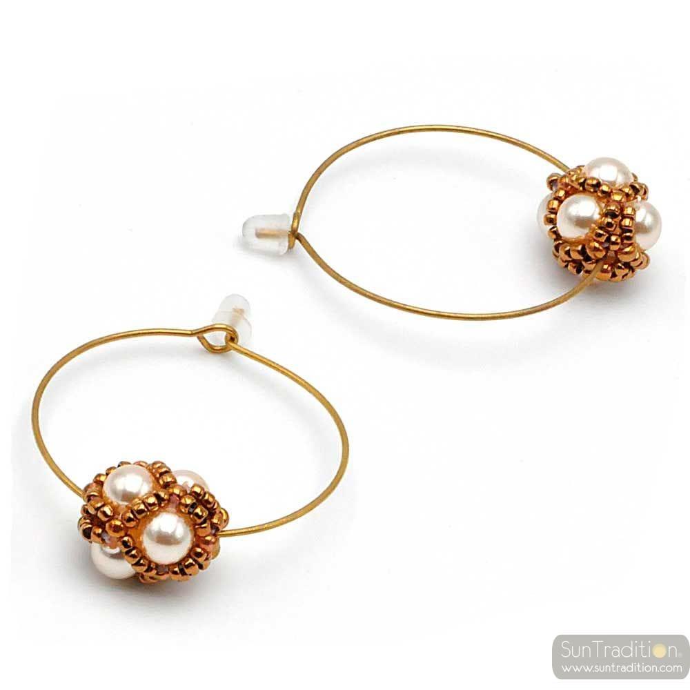 CIRCLE GOLD GLASS BEADS EARRING RENAISSANCE