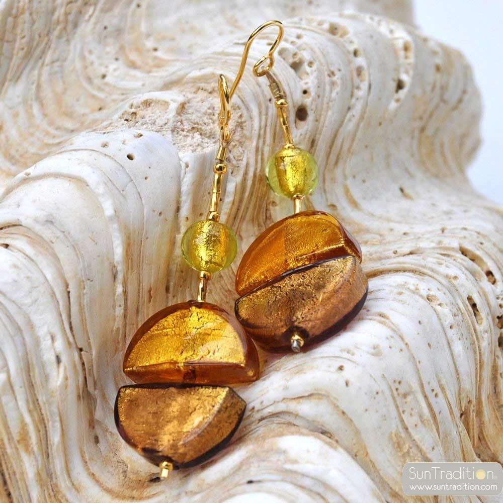 COLORADO GOLD - GOLD OHRHANGER GLAS SCHMUCK AUS ECHTEM MURANOGLAS AUS VENEDIG