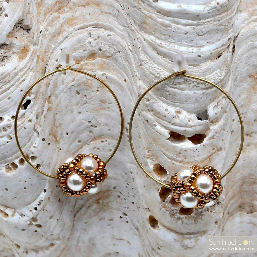 CIRCLE GOLD GLASS BEADS EARRING RENAISSANCE