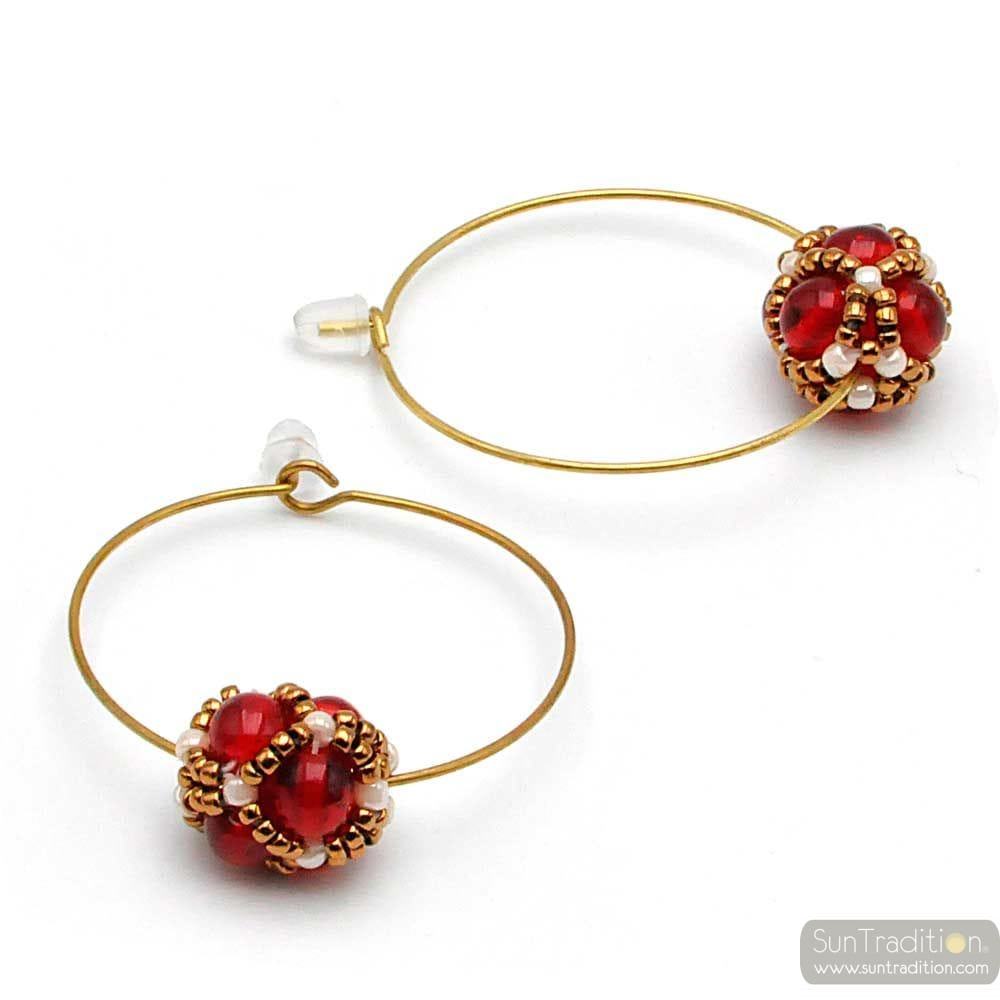 CIRCLE RED GLASS BEADS EARRINGS RENAISSANCE