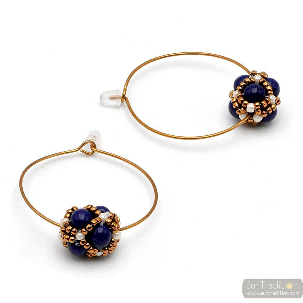 CIRCLE BEADS BLUE GLASS EARRINGS RENAISSANCE