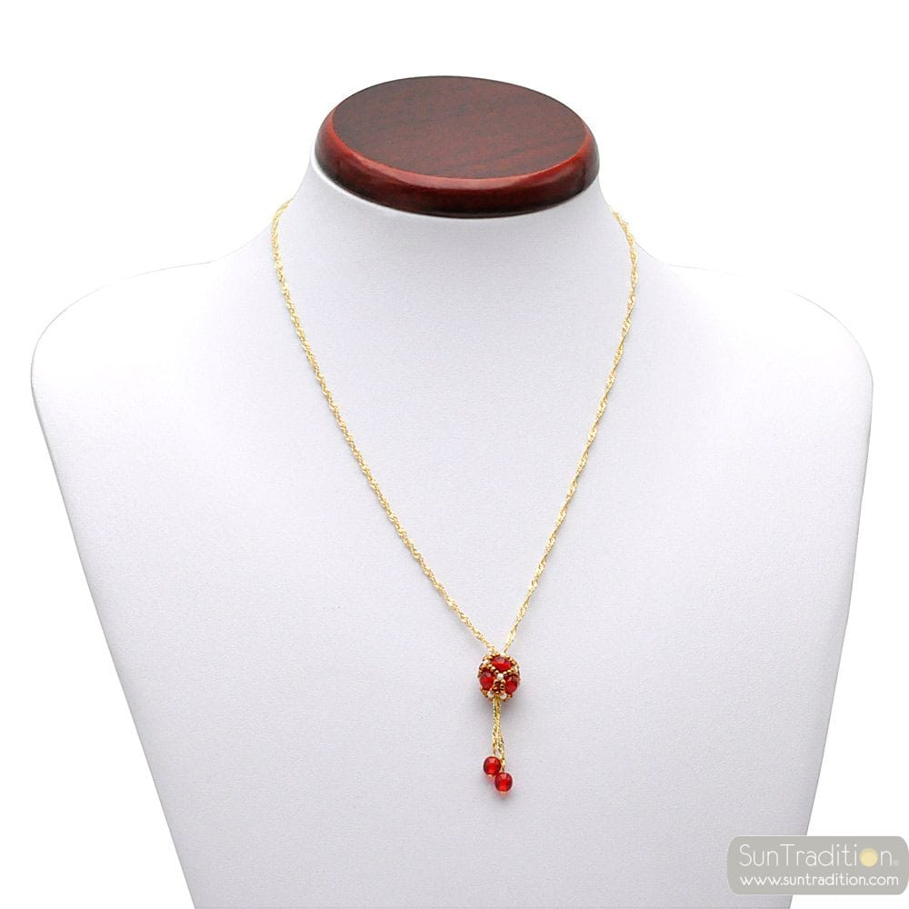 GLASS RED PENDANT BEADS WEAVES GOLDEN RENAISSANCE