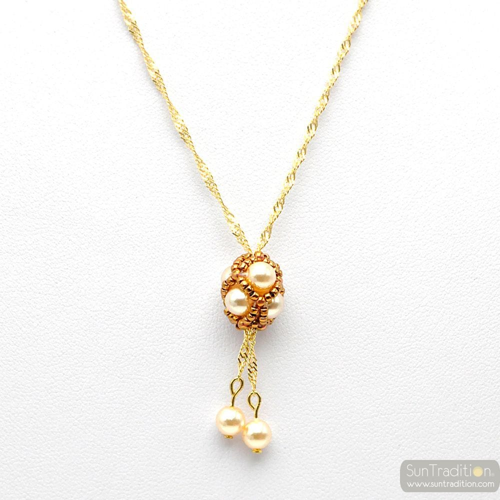 GOLD GLASS PEARL PENDANT WOVEN GOLD RENAISSANCE