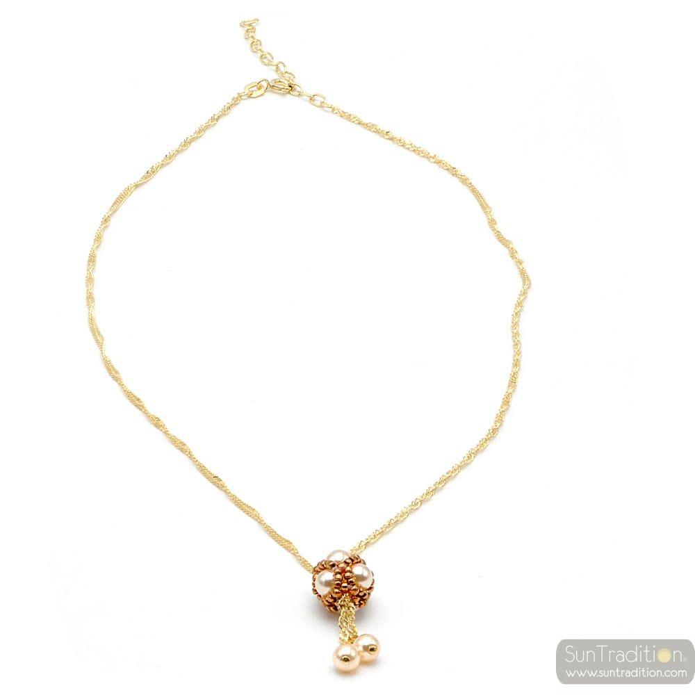 GOLD GLASS PEARL PENDANT WOVEN GOLD RENAISSANCE