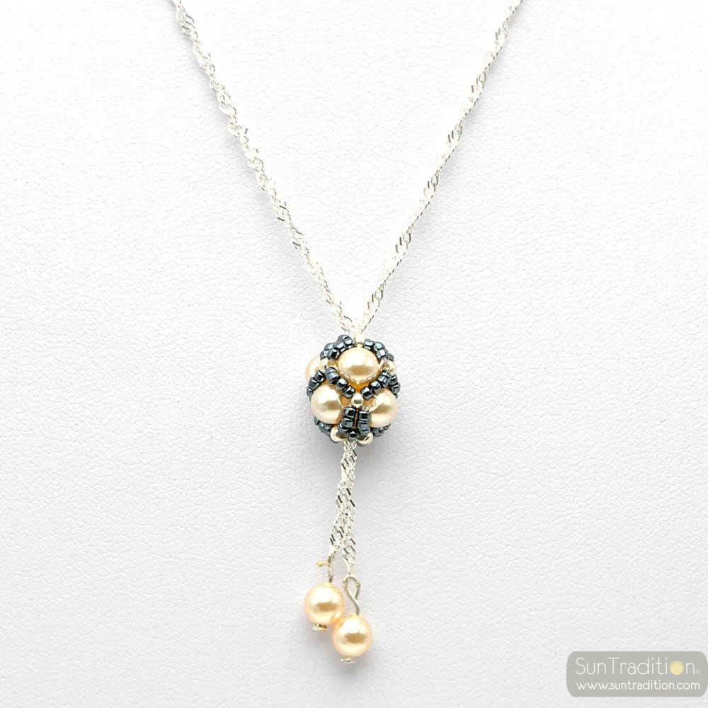 GREY GLASS PEARL PENDANT AND SILVER WOVEN GRAY RENAISSANCE